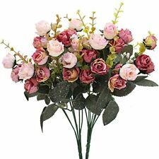 2 Pack Rose Flowers Bouquet Realistic Artificial Silk Fake Wedding Floral Decor