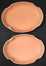 "Pink Platter Serving Dish Anchor Hocking Fire King Vitrock Glass 10"" Mid Century"