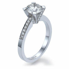 Very Good Engagement Solitaire with Accents Round Fine Diamond Rings