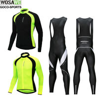 Mens  Reflective Team Cycling Kit Jersey&Bib Pants Set Long Sleeve Bike Tights