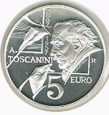 San Marino 5 euro 2007 proof zilver PP: Arturo Toscanini