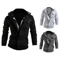 Men's Winter Slim Hoodie Warm Hooded Sweatshirt Coat Jacket Outwear Sweater DS