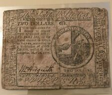 May 20, 1777 Continental Currency $2 two dollars  - first UNITED STATES issue