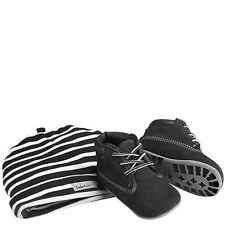 Timberland Infant Soft Bottom Solid Black Toddler Shoes Crib Booties & Cap Set
