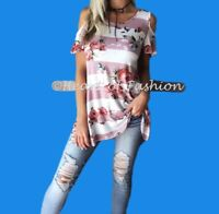 Women's Boho Floral Print Colorblock Cold Shoulder Knit Relaxed Tunic Top Shirt