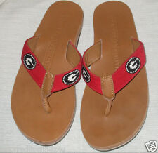 SMATHERS & BRANSON FLIP FLOPS UNIVERSITY OF GEORGIA  BULLDOGS NEEDLEPOINT SZ 8