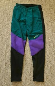 EUC Blackbottoms Women's Fleece Nylon Cycling Pants Tights Green Large Made USA