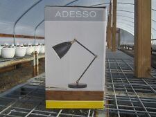 Free ship, Adesso Adjustable 16 in. Black with Brass Desk Lamp