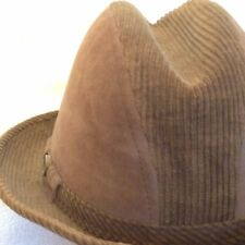 Vintage FEDORA Men's CORDUROY HAT 1960s Brown Small Size 6 7/8 Felt Soft VELOUR