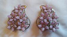 "Vtg Large Purple Silver Flower Rhinestone Clip On Earrings Pat Pending 1 3/4"""