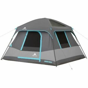 10' x 9' Dark Rest Cabin Tent Sleeps 6 Camp Outdoor Hike Trail Gray Air Vent