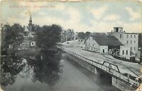 Whitewater Wisconsin~Main Street Bridge~Downtown~Skyline~1907 Postcard