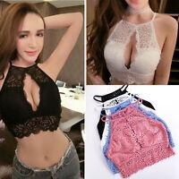 Women Sheer Lace Floral Bralette Bralet Bra Bustier Crop Top Cami  Unpadded Tank