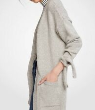 NWT Ann Taylor Tie Sleeve Open Cardigan Sweater Heather Gray Size M $129