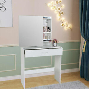Dressing TableSliding Makeup Mirror w/ Drawers Space Saving White Wood Desk
