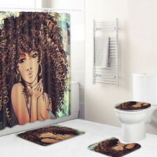 African Woman Shower Curtain Bathroom Rug Set Non-slip Toilet Lid Cover BathMat