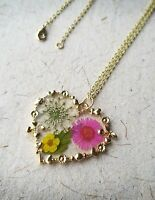 Beautiful Resin Pendant Necklace | Natural Real Flowers | Heart Gold Jewellery