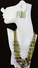Vintage Jewelry LOT OF 2 Necklace Earrings Green Brown Glass Wood Bead Enamel...