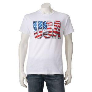 USA Shirt Men's Red White XL XXL American Flag Patriotism New