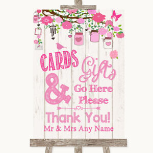 Wedding Sign Poster Print Pink Rustic Wood Cards & Gifts Table