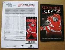 Detroit Red Wings Kyle Quincy Ticket, Game Program & Game Notes 10-23-2013