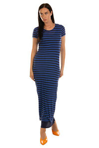 RRP €205 ENZA COSTA Maxi T-Shirt Dress Size S Two Tone Striped Made in USA