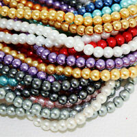4/6/8/10/12mm Round Czech Glass Pearl Loose Beads lot for Crafts Jewelry Makings