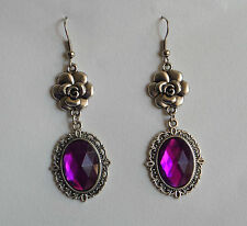 CAMELLIA FILIGREE VICTORIAN STYLE MAGENTA PURPLE SILVER PLATED EARRINGS CFE Hook