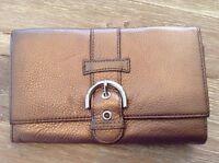 TALBOTS Metallic Bronze Genuine Leather Wallet Organizer Clutch w/ Buckle--EUC