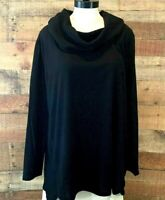 New~$44~ERIKA Women 2X Plus Black Long-Sleeve Drape-Neck Poly Fleece Top Shirt