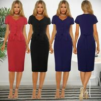 Women's Ruffle Sexy Wrap Bodycon Dresses Ladies Summer Holiday Beach Sundress