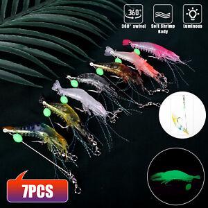 7X Artificial Soft Shrimp Bait Luminous Silicone Prawn Fishing Lures Hook Baits