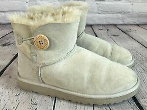 UGG Australia 3352 Mini Bailey Button GRAY Shearling Boots Women's Size 8