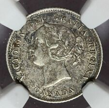 1874-H Canada 5 Five Cents Large Date Crosslet 4 Silver Coin - NGC XF 45 - KM# 2