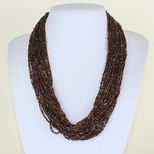 Brown Gold Beads Necklace Multi Strand Layer Necklace Ethnic African Maasai Sea