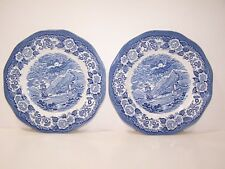 """Lochs of Scotland 10"""" Dinner Plate With Ship And Floral Artwork Lot of 2"""