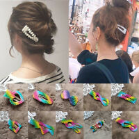 Colorful Pearl Rainbow Hair Clips Pins Hairpins Barrette Girls Jewelry Gifts