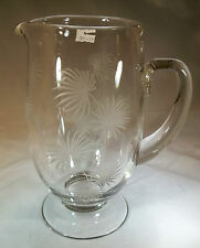 "FOSTORIA LIDO ETCH CRYSTAL #6011 8-7/8"" TALL 53-OUNCE FOOTED BEVERAGE PITCHER!"