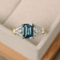 Natural 1.25 Ct Diamond Topaz Gemstone Ring Solid 14K Gold Band Size 5 6 7 8