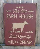 PRIMITIVE  COUNTRY THE OLD FARMHOUSE MILK-CREAM cow  burgundy