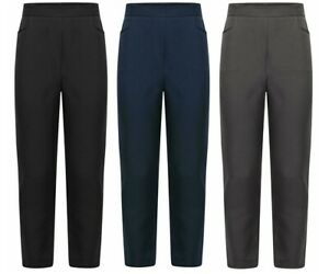 Age 2-14 Kids School Trousers Black Navy Charcoal Half Elastic Comfy Stretchy