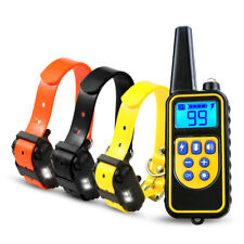 3 Dog Electric Shock Collar 875 Yards Remote Waterproof LCD Pet No Bark Training
