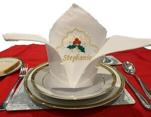 Luxury Personalised Embroidered Christmas Napkins - (ironed & pre-folded)