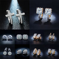 Fashion Women Crystal Cubic Zirconia Hoop Ear Stud Earrings Wedding Jewelry Gift