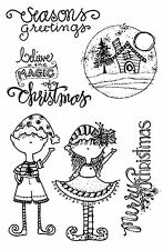 CHRISTMAS MAGIC Clear Unmounted Rubber Stamps Impression Obsession CL700 NEW