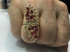 2.85 Carat Diamond and Red Ruby Cocktail Ring F Vs2 14k yellow Gold