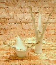 Moderne Vase Wase Obstschale Glas Schale Glasvase weiß Koralle Blumenvase Deko