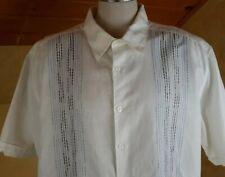Cubavera mens size 2X white  Linen cotton casual short sleeve bowling shirt