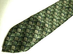 "Croft & Barrow Mens Necktie Tie Olive Green Geometric Silk 59"""