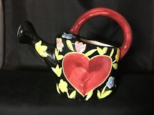 New listing Watering Can Porcelain Black Colorful Heart Floral Herb Garden Window Sill